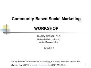 Community-Based Social Marketing WORKSHOP