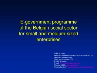 E-government programme of the Belgian social sector for small and medium-sized enterprises