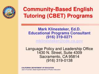 Community-Based English Tutoring (CBET) Programs