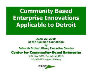 community Based Enterprise, Inc.  (C2BE)
