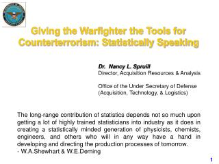 Giving the Warfighter the Tools for Counterterrorism: Statistically Speaking