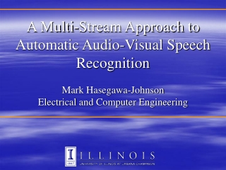 Audio-Visual  Speech Recognition:  Audio Noise, Video Noise,  and Pronunciation Variability  Mark Hasegawa-Johnson Elect