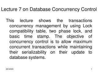 Lecture 7 on Database Concurrency Control