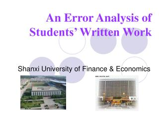 An Error Analysis of Students  Written Work