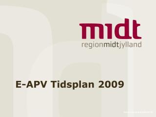 E-APV Tidsplan 2009