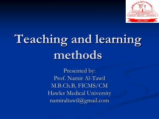 Teaching and learning methods