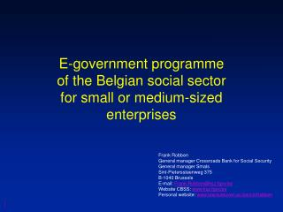 E-government programme of the Belgian social sector for small or medium-sized enterprises