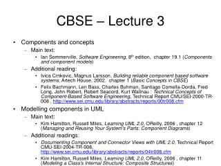 CBSE – Lecture 3