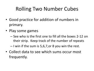Rolling Two Number Cubes