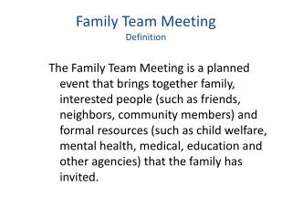 Family Team Meeting Definition