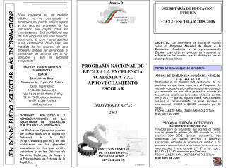 SECRETARÍA DE EDUCACIÓN PÚBLICA CICLO ESCOLAR 2005-2006