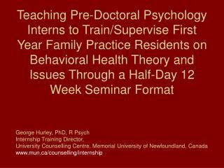 History of the Interdisciplinary Training Program at the MUN Counselling Centre
