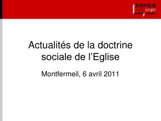 Actualit�s de la doctrine sociale de l�Eglise