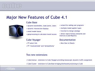 Cube Base  dynamic bandwidths, node/point, colors  dynamic intersection displays
