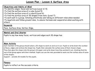 Lesson Plan – Lesson 6 Surface Area