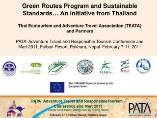 Green Routes Program and Sustainable Standards… An initiative from Thailand