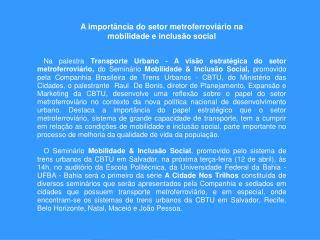TRANSPORTE URBANO: A VISÃO ESTRATÉGICA DO SETOR METRO-FERROVIÁRIO