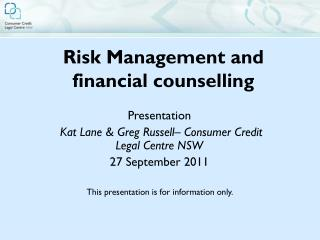 Risk Management and financial counselling