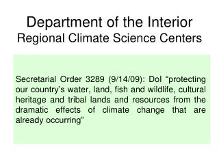Department of the Interior Regional Climate Science Centers