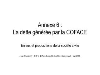 Annexe 6 : La dette générée par la COFACE