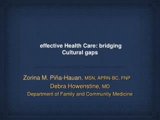 effective Health Care: bridging Cultural gaps