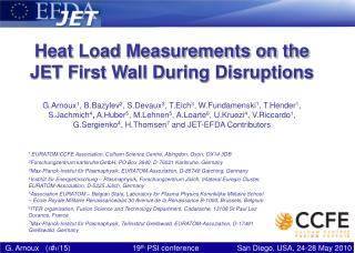 Heat Load Measurements on the JET First Wall During Disruptions