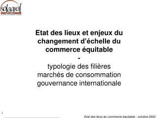 introduction typologie des filières marchés de consommation gouvernance internationale  conclusion