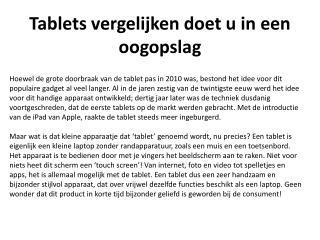 Tablets vergelijken doet u in een oogopslag