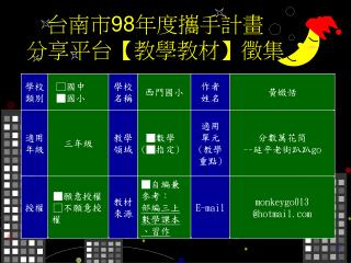 台南市 98 年度攜手計畫 分享平台 【 教學教材 】 徵集