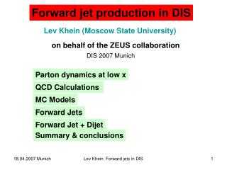 Lev Khein (Moscow State University) on behalf of the ZEUS collaboration