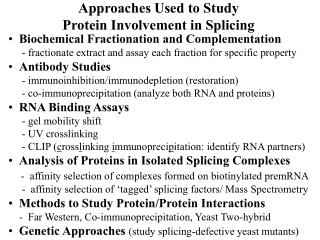 Approaches Used to Study  Protein Involvement in Splicing