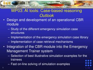 WP03:  AI tools: Case-based reasoning Outlook