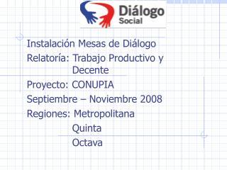 Instalación Mesas de Diálogo Relatoría: Trabajo Productivo y Decente Proyecto: CONUPIA