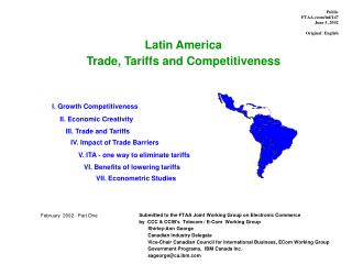Latin America Trade, Tariffs and Competitiveness