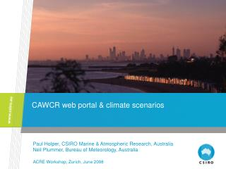 CAWCR web portal & climate scenarios