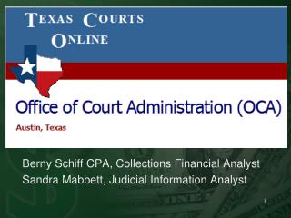 Berny  Schiff CPA, Collections Financial Analyst Sandra  Mabbett, Judicial  Information Analyst