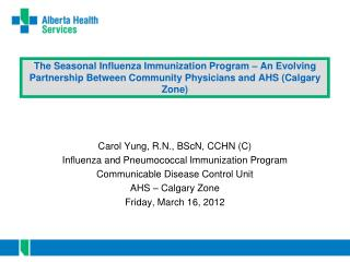 Carol Yung, R.N., BScN, CCHN (C) Influenza and Pneumococcal Immunization Program
