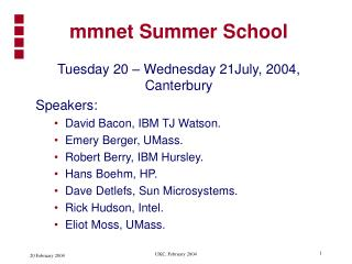 mmnet Summer School