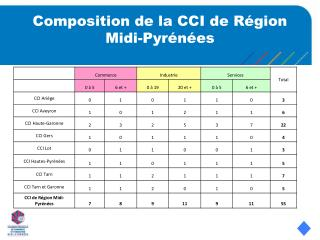 Composition de la CCI de Région Midi-Pyrénées