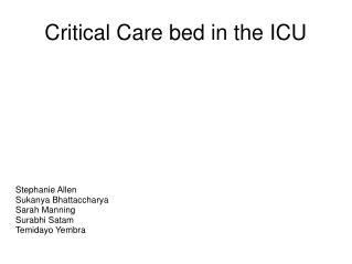 Critical Care bed in the ICU