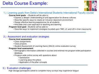 1.)  Learning goals from Delta's International Students-International Faculty course