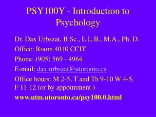 PSY100Y - Introduction to Psychology
