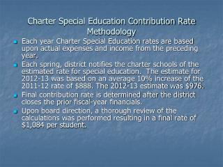 Charter Special Education Contribution Rate Methodology