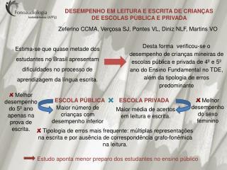 DESEMPENHO EM LEITURA E ESCRITA DE CRIANÇAS DE ESCOLAS PÚBLICA E PRIVADA