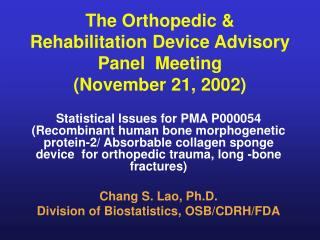 The Orthopedic & Rehabilitation Device Advisory Panel  Meeting (November 21, 2002)