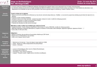 Stage en BioStatistiques  Réf.: ME/Stage/CCMS