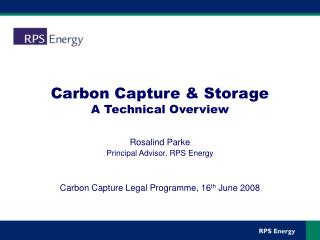 Carbon Capture & Storage A Technical Overview