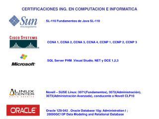 CERTIFICACIONES ING. EN COMPUTACION E INFORMATICA