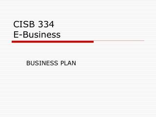CISB 334 E-Business