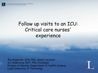 Follow up visits to an ICU:  Critical care nurses' experience